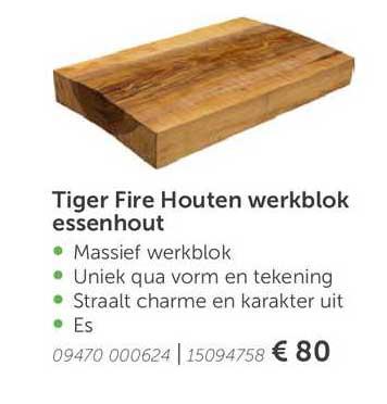 Aveve Tiger Fire Houten Werkblok Essenhout