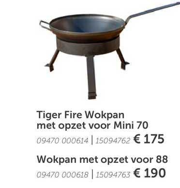 Aveve Tiger Fire Wokpan Met Opzet Voor Mini 70 Of Wokpan Met Opzet Voor 88
