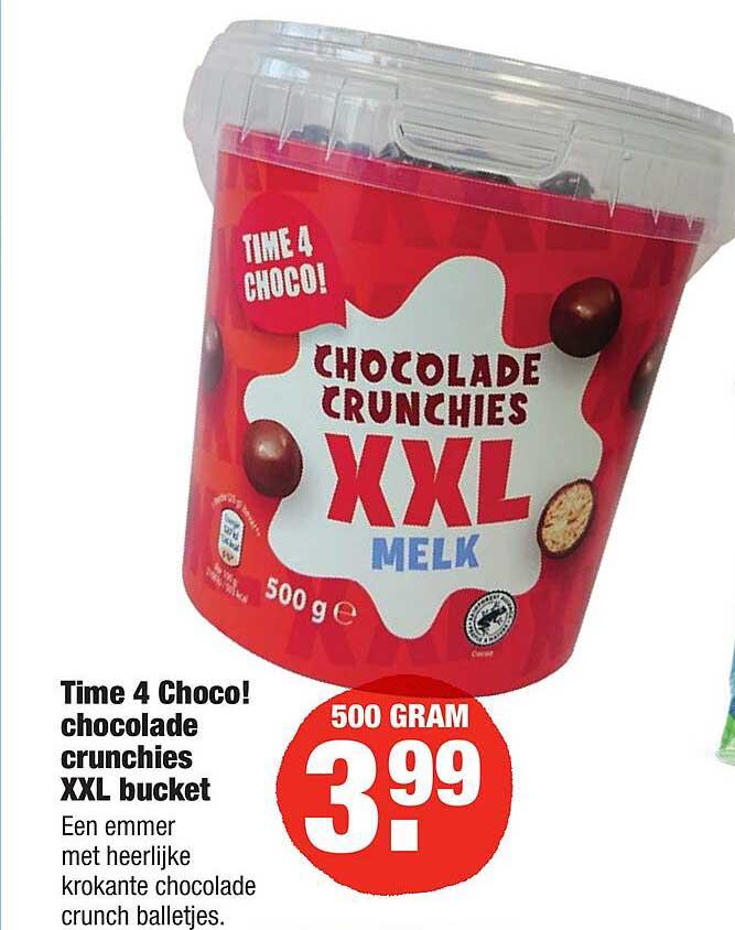 ALDI Time 4 Choco! Chocolade Crunchies XXL Bucket