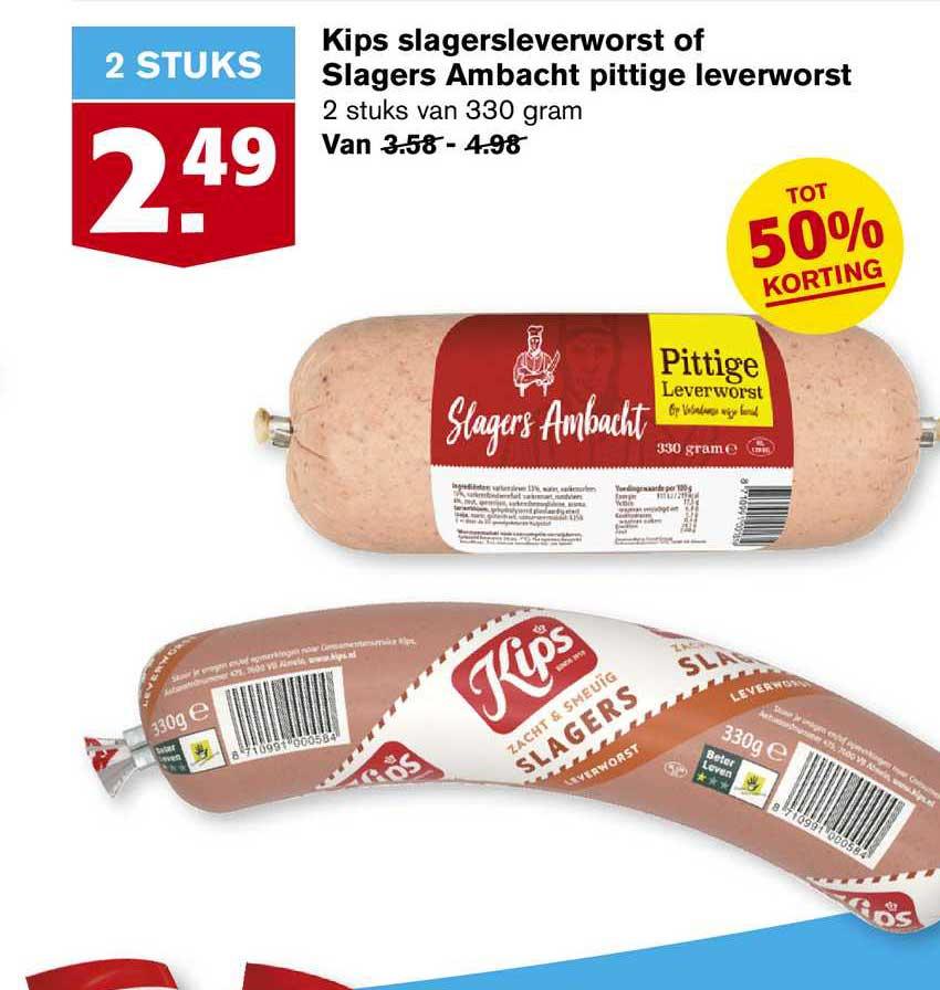 Hoogvliet Kips Slagersleverworst Of Slagers Ambacht Pittige Leverworst Tot 50% Korting