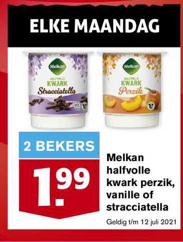 Hoogvliet Melkan Halfvolle Kwark Perzik, Vanille Of Stracciatella