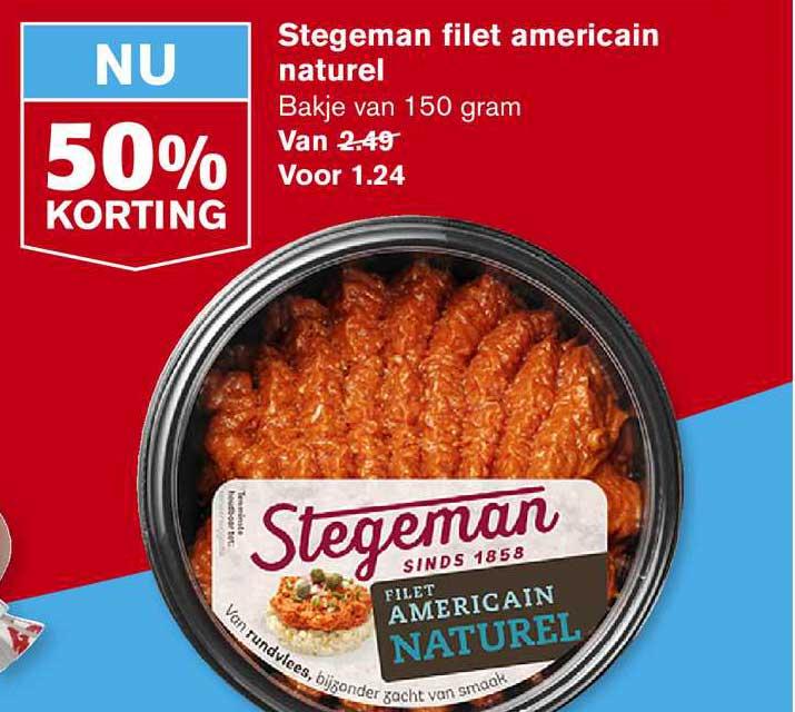Hoogvliet Stegeman Filet Americain Naturel 50% Korting