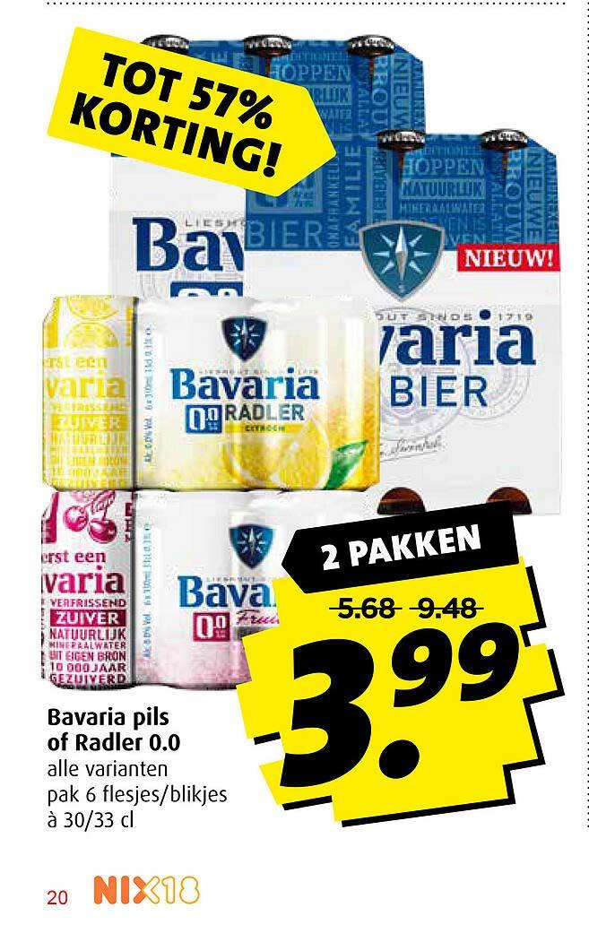 Boni Bavaria Pils Of Radler 0.0 Tot 57% Korting