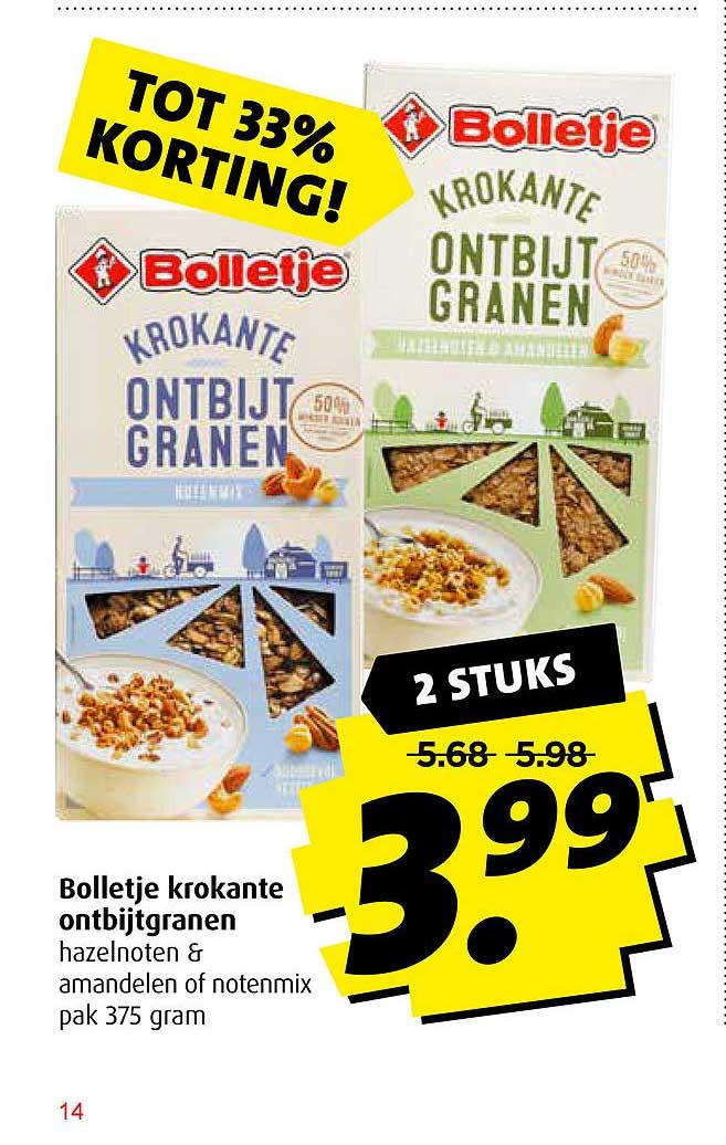 Boni Bolletje Krokante Ontbijtgranen Hazelnoten & Amandelen Of Notenmix Tot 33% Korting