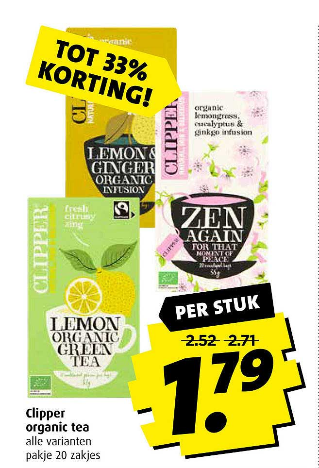 Boni Clipper Organic Tea Tot 33% Korting