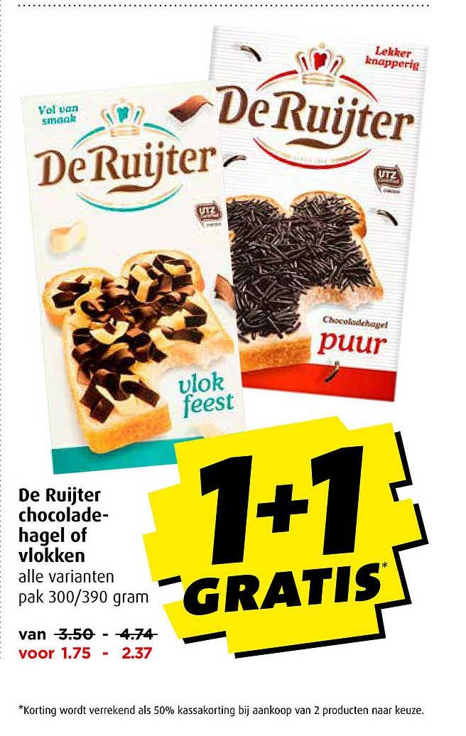Boni De Ruijter Chocoladehagel Of Vlokken 1+1 Gratis