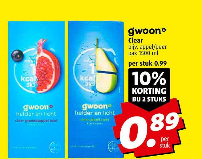 Boni Gwoon Clear 10% Korting Bij 2 Stuks