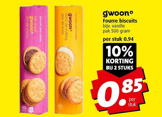 Boni Gwoon Fourre Biscuits 10% Korting Bij 2 Stuks