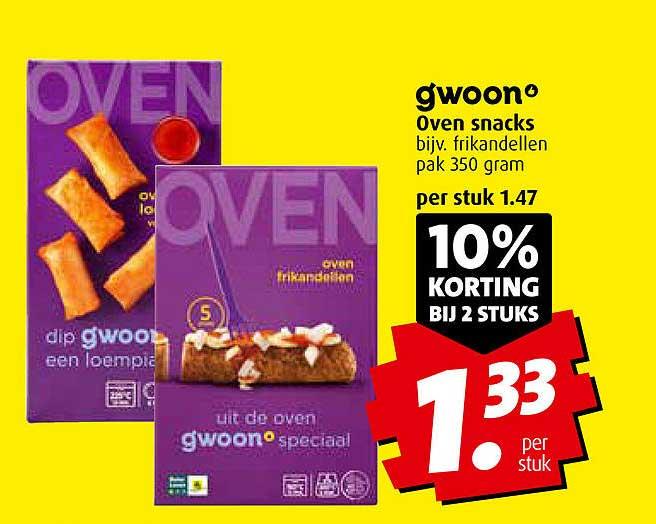 Boni Gwoon Oven Snacks 10% Korting Bij 2 Stuks