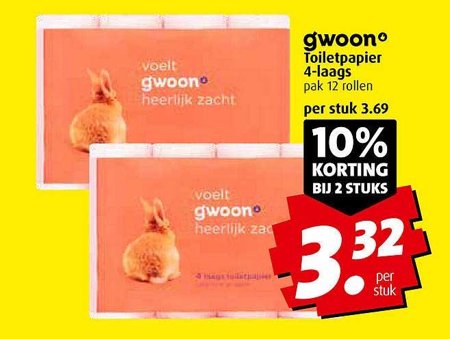 Boni Gwoon Toiletpapier 4-Laags 10% Korting Bij 2 Stuks