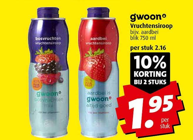 Boni Gwoon Vruchtensiroop 10% Korting Bij 2 Stuks