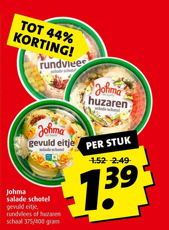 Boni Johma Salade Schotel Gevuld Eitje, Rundvlees Of Huzaren Tot 44% Korting
