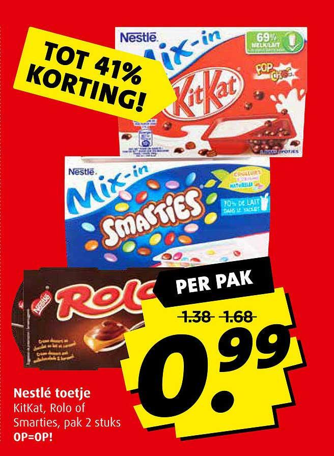 Boni Nestlé Toetje Kitkat, Rolo Of Smarties Tot 41% Korting