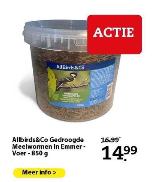 Boerenbond Allbirds&Co Gedroogde Meelwormen In Emmer - Voer - 850 G