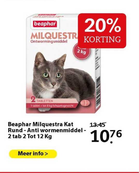 Boerenbond Beaphar Milquestra Kat Rund - Anti Wormenmiddel - 2 Tab 2 Tot 12 Kg 20% Korting