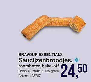 Bidfood Bravour Essentials Saucijzenbroodjes, Roomboter, Bake-Off
