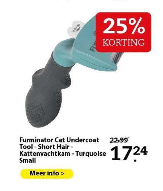 Boerenbond Furminator Cat Undercoat Tool - Short Hair - Kattenvachtkam - Turquoise Small 25% Korting