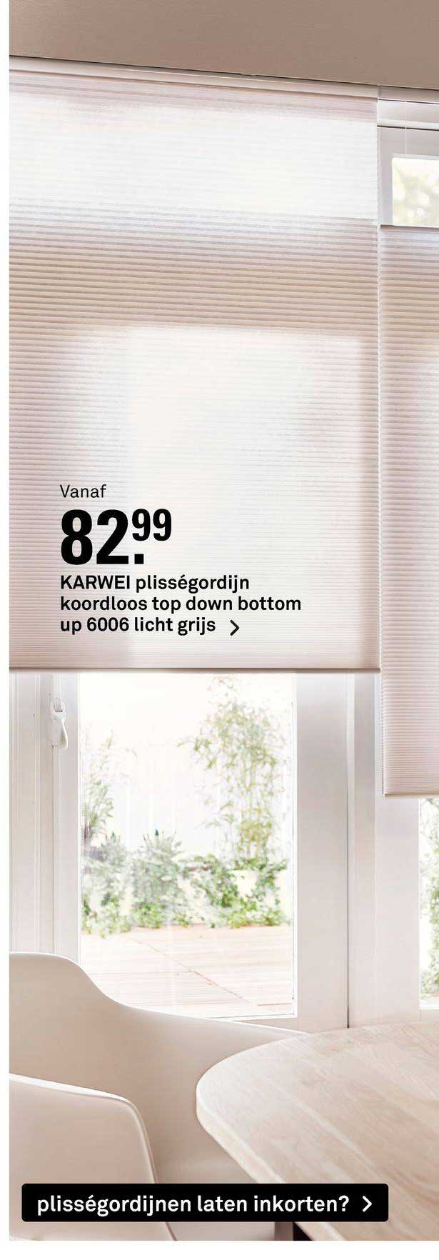 Karwei Karwei Plisségordijn Koordloos Top Down Bottom Up 6006 Licht Grijs