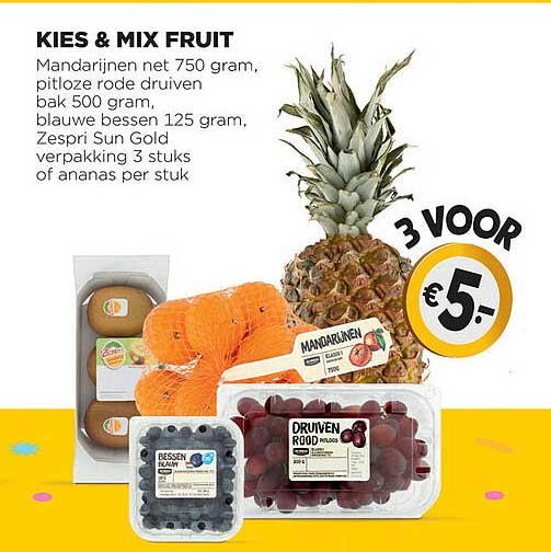 Jumbo Kies & Mix Fruit Mandarijnen Net, Pitloze Rode Druiven, Blauw Bessen, Zespri Sun Gold Of Ananas