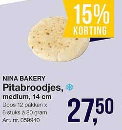 Bidfood Nina Bakery Pitabroodjes, Medium, 14 Cm 15% Korting