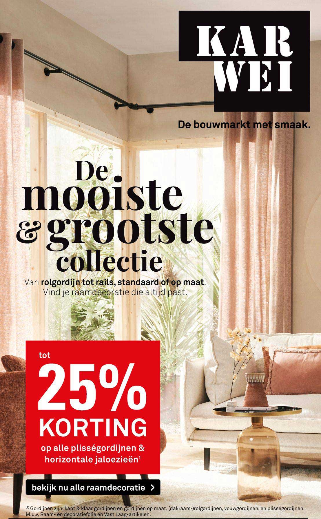 Karwei Op Alle Plisségordijnen & Horizontale Jaloezieën Tot 25% Korting