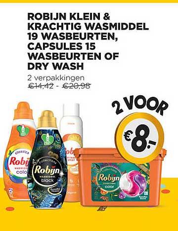Jumbo Robijn Klein & Krachtig Wasmiddel 19 Wasbeurten, Capsules 15 Wasbeurten Of Dry Wash