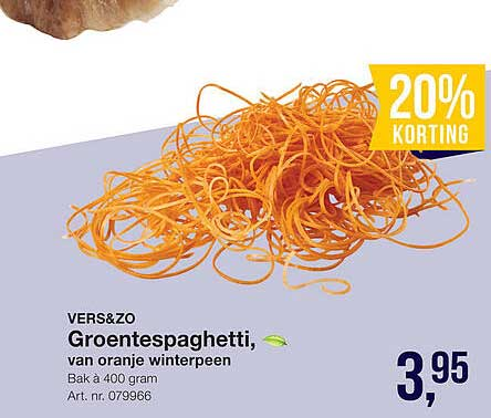 Bidfood Vers&Zo Groentespaghetti, Van Oranje Winterpeen 20% Korting