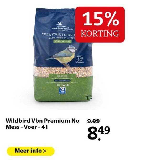 Boerenbond Wildbird Vbn Premium No Mess - Voer - 4 L 15% Korting