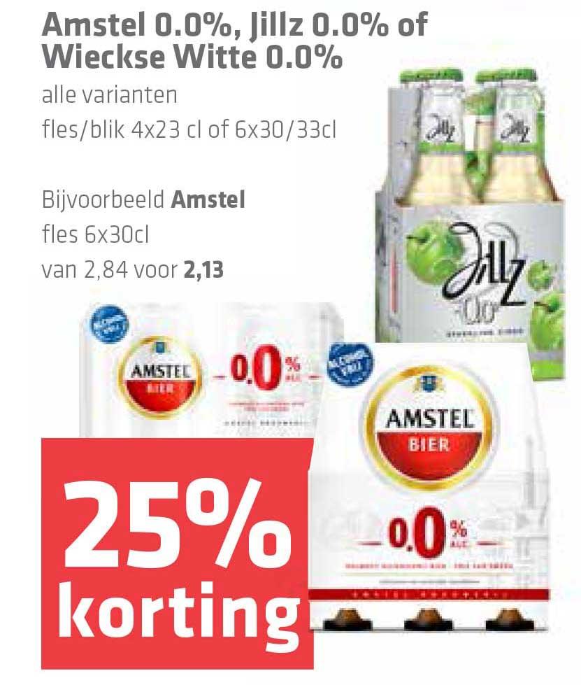 Spar Amstel 0.0%, Jillz 0.0% Of Wieckse Witte 0.0%: 25% Korting
