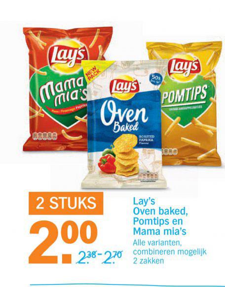 Lays Oven, Deep Ridged En Sensations: 2 Stuks €2