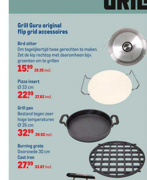 Makro Grill Guru Original Flip Grid Accessoires : Bird Sitter, Pizza Insert, Grill Pan Of Burning Grate