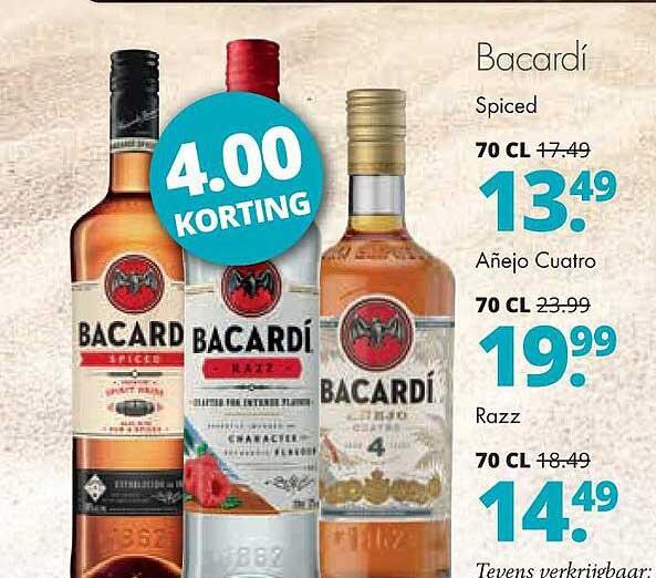 Mitra Bacardí Spiced, Añjo Cuatro Of Razz 4.00 Korting