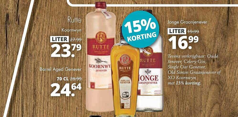 Mitra Rutte Koornwyn, Barrel Aged Genever Of Jonge Graanjenever 15% Korting