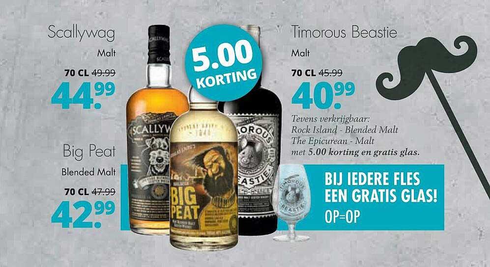 Mitra Scallywag Malt, Big Peat Blended Malt Of Timorous Beastie Malt 5.00 Korting