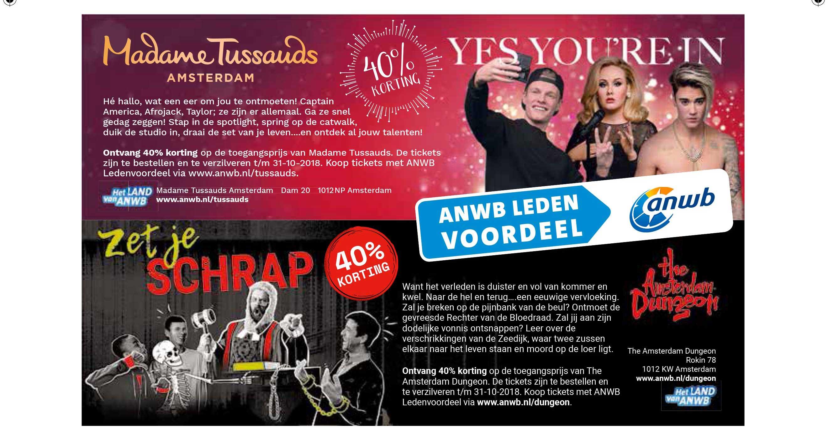 ANWB Madame Tussauds: 40% Korting