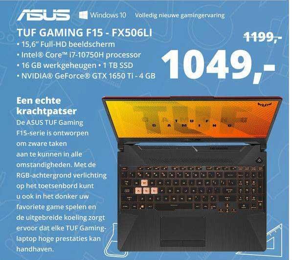 Paradigit Asus TUF Gaming F15 - FX506LI Laptop