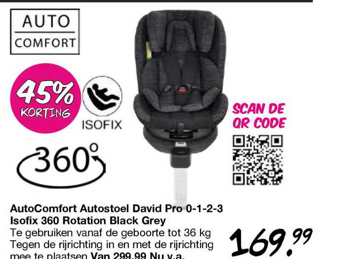 Van Asten AutoComfort Autostoel David Pro 0-1-2-3 Isofix 360 Rotation Black Grey 45% Korting