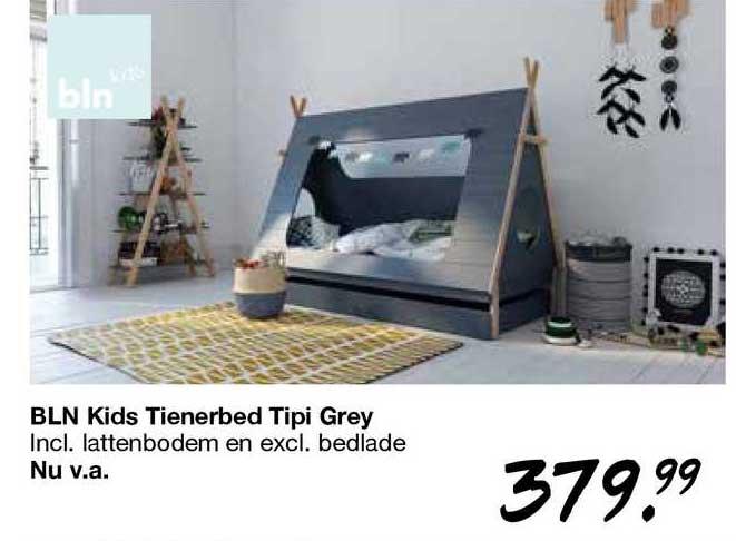 Van Asten BLN Kids Tienerbed Tipi Grey Incl. Lattenbodem En Excl. Bedlade