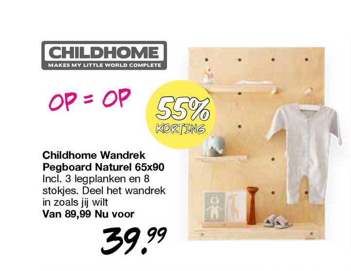 Van Asten Childhome Wandrek Pegboard Naturel 65x90 55% Korting