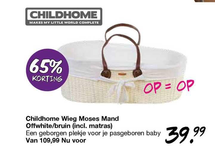 Van Asten Childhome Wieg Moses Mand Offwhite-Bruin (Incl. Matras) 65% Korting