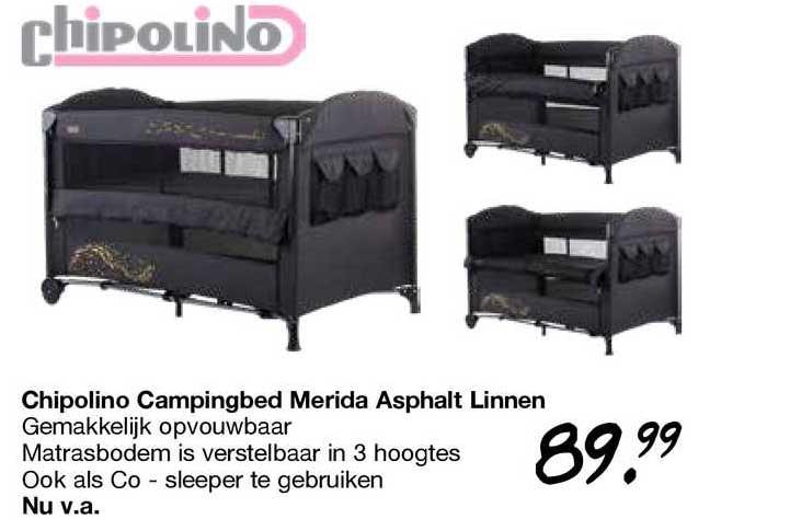 Van Asten Chipolino Campingbed Merida Asphalt Linnen