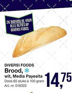 Bidfood Diversi Foods Brood, Wit, Media Payesita