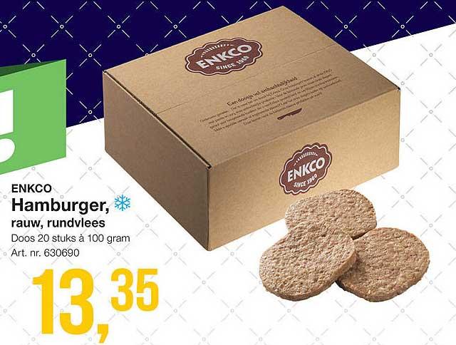 Bidfood Enkco Hamburger, Rauw, Rundvlees