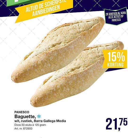 Bidfood Panesco Baguette, Wit, Rustiek, Barra Gallega Media 15% Korting