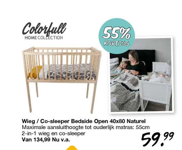 Van Asten Wieg - Co-Sleeper Bedside Open 40x80 Naturel 55% Korting
