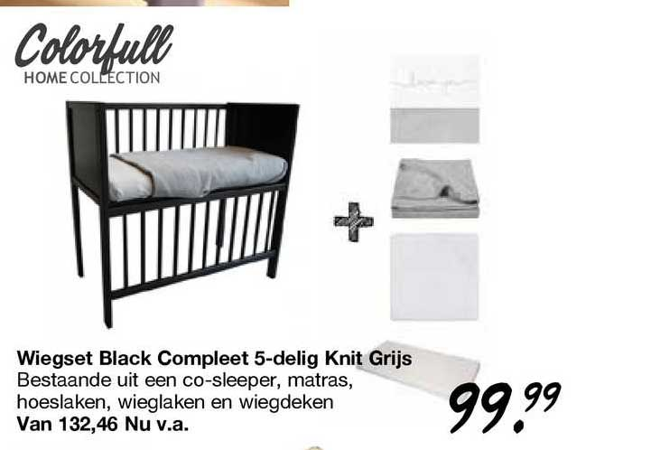 Van Asten Wiegset Black Compleet 5-Delig Knit Grijs