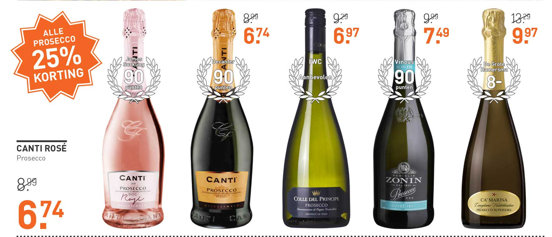 Gall & Gall Canti Rosé Prosecco 25% Korting