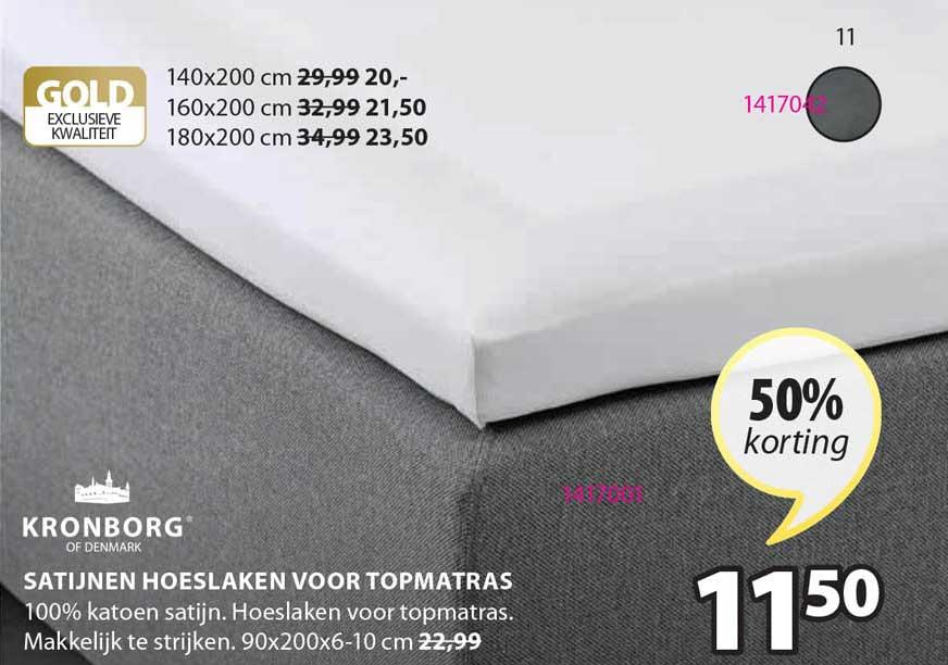 Jysk Satijnen Hoeslaken Voor Topmatras 50% Korting