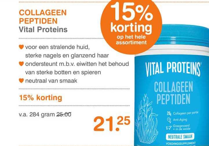 Vitaminstore Collageen Peptiden Vital Proteins 15% Korting
