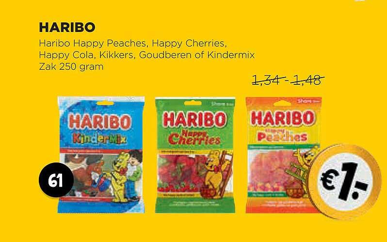 Jumbo Haribo Happy Peaches, Happy Cherries, Happy Cola, Kikkers, Goudberen Of Kindermix